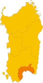 Karte von Sardinien mit Markierung der Provinz Cagliari.