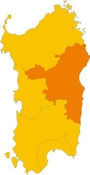 Karte von Sardinien mit Markierung der Provinz Nuoro.