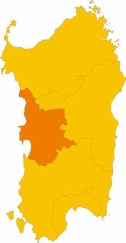 Karte von Sardinien mit Markierung der Provinz Oristano.