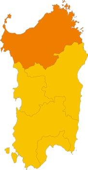 Karte von Sardinien mit Markierung der Provinz Sassari.
