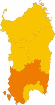 Karte von Sardinien mit Markierung der  Provinz Sud Sardegna.
